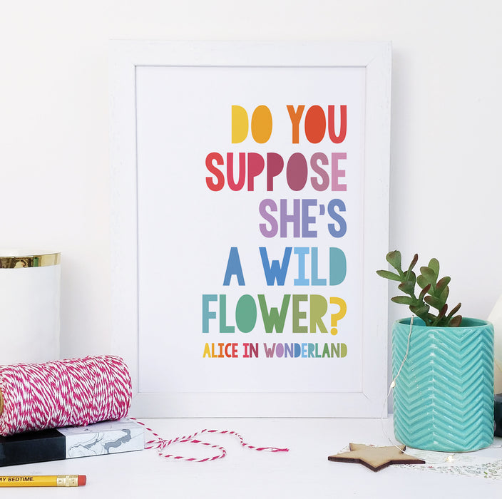 """Do you suppose she's a wildflower?"" Alice in Wonderland Rainbow Framed Print for Book Lovers"