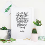 Monochrome Peter Pan 'Fairies' New Baby Calligraphy Print