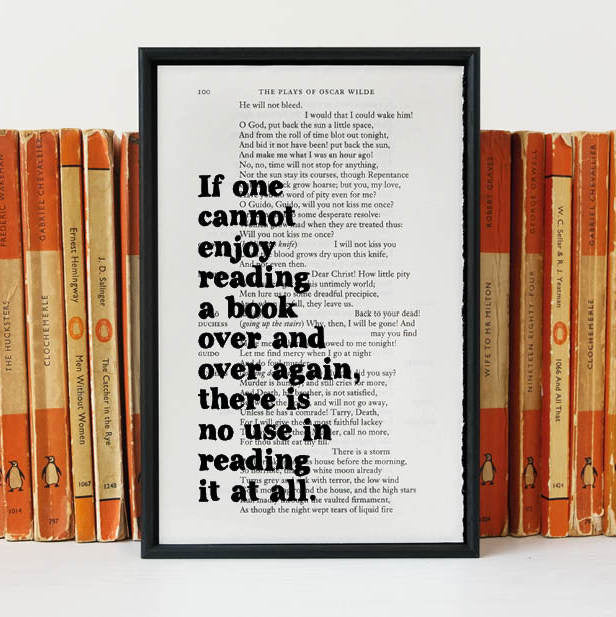 "Oscar Wilde ""If One Cannot Enjoy Reading A Book..."" Book Lover's Quote - Framed Book Page Print"