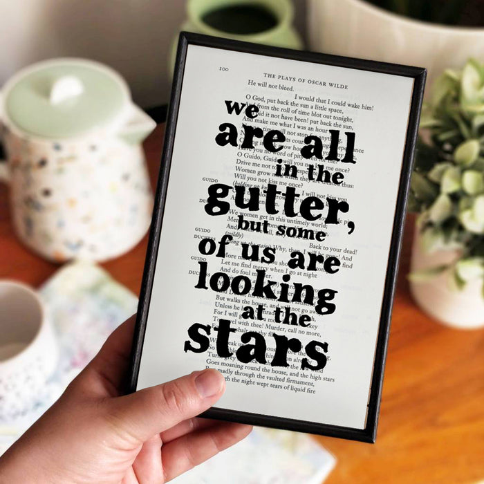 "Oscar Wilde Quotes ""We Are All in the Gutter"" Inspirational Book Page Art"