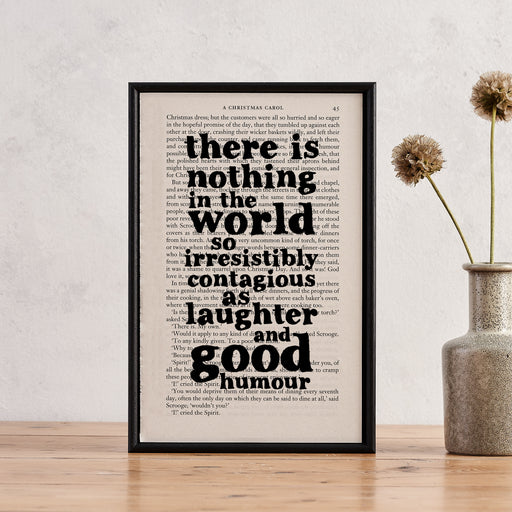 "Charles Dickens ""... As Laughter And Good Humour"" Quote - Framed Book Page Print"