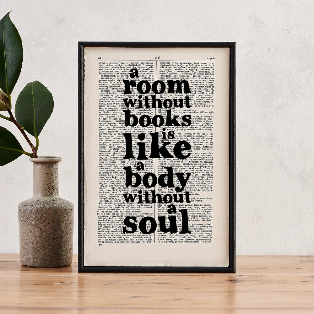 """A Room Without Books... Body Without A Soul"" Book Lover Quote - Framed Book Page Print"