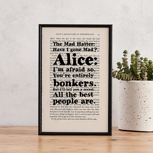 "Alice in Wonderland ""Bonkers"" Book Page Print"
