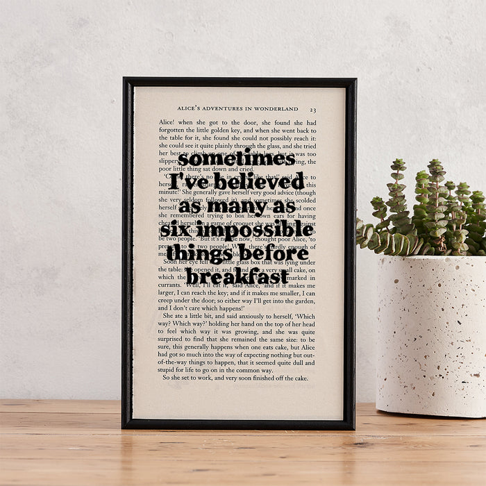 "Alice in Wonderland ""Six Impossible Things Before Breakfast"" Quote - Framed Book Page Print"