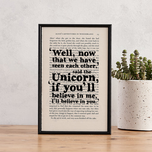 "Alice in Wonderland ""I'll Believe In You"" Framed Unicorn Quote - Book Page Print"