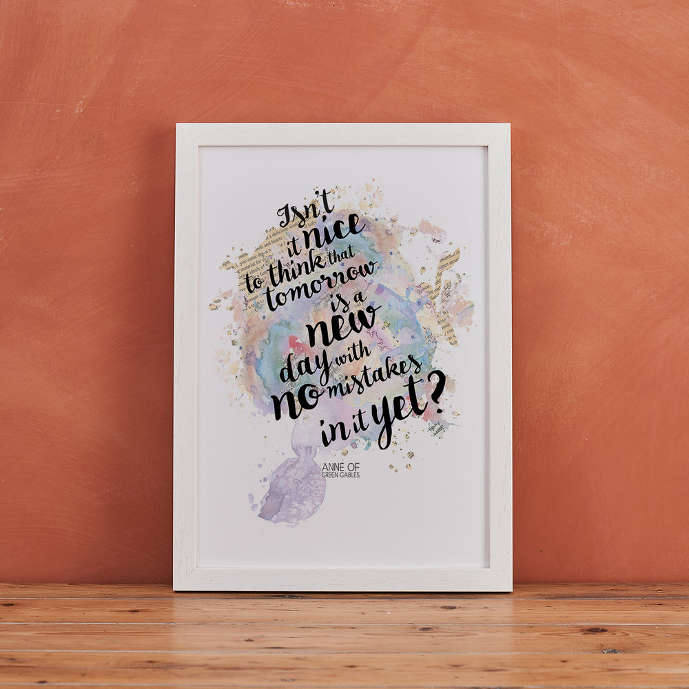 """Isn't It Nice To Think..."" Anne Of Green Gables Quote - Watercolour Print"