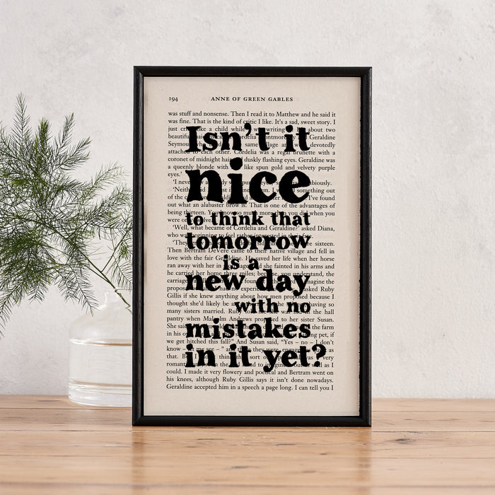 anne of green gables gift tomorrow is a new day with no mistakes in it new beginnings gift book page art