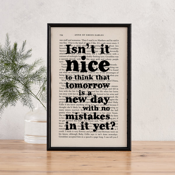 "Anne Of Green Gables ""Tomorrow Is A New Day"" Quote - Framed Book Print"