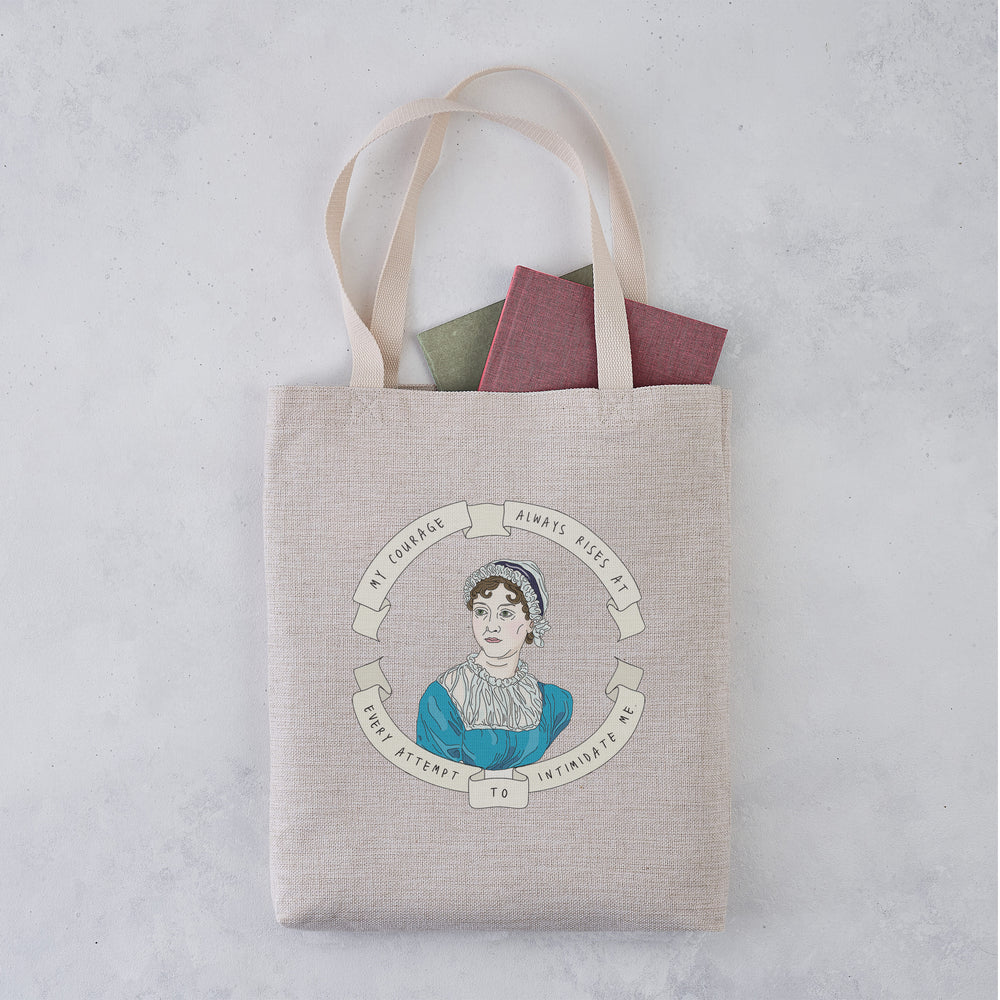 Jane Austen 'My Courage Always Rises' Illustrative Author Tote Bag