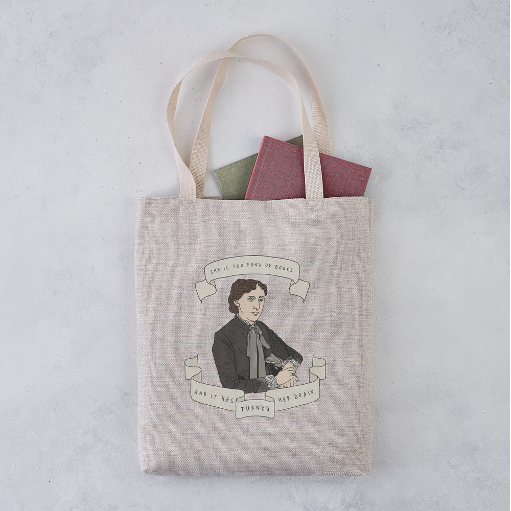 Louisa May Alcott Author Banner Illustration Tote Bag