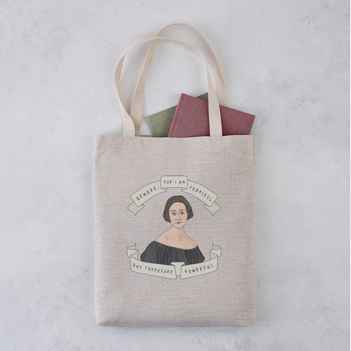 Mary Shelley Author Banner Illustration 'I Am Fearless' Tote Bag