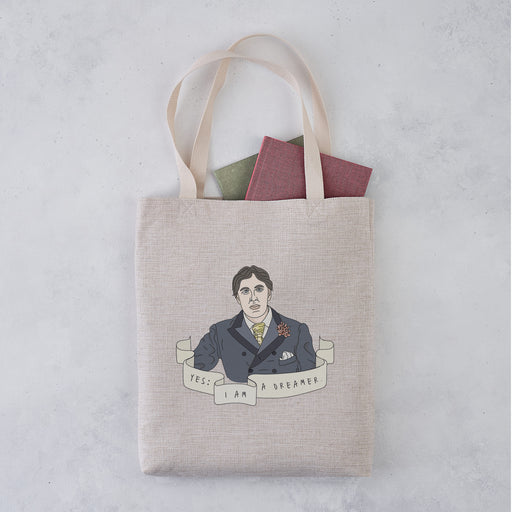 "Oscar Wilde ""Yes: I am a Dreamer"" Illustrative Author Tote Bag"