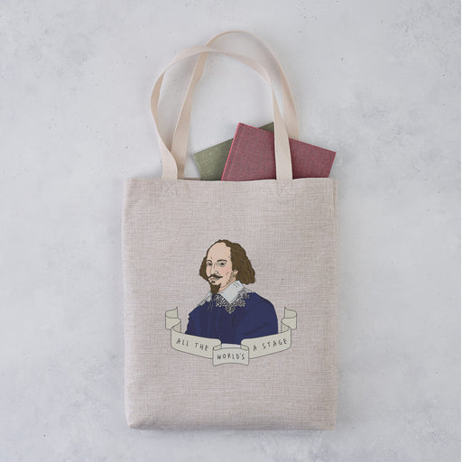 Shakespeare 'All the World's a Stage' Author Banner Illustration Tote Bag