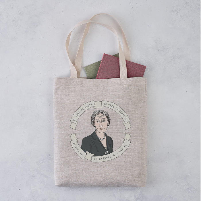 Virginia Woolf 'No Need to Sparkle' Author Banner Illustration Tote Bag