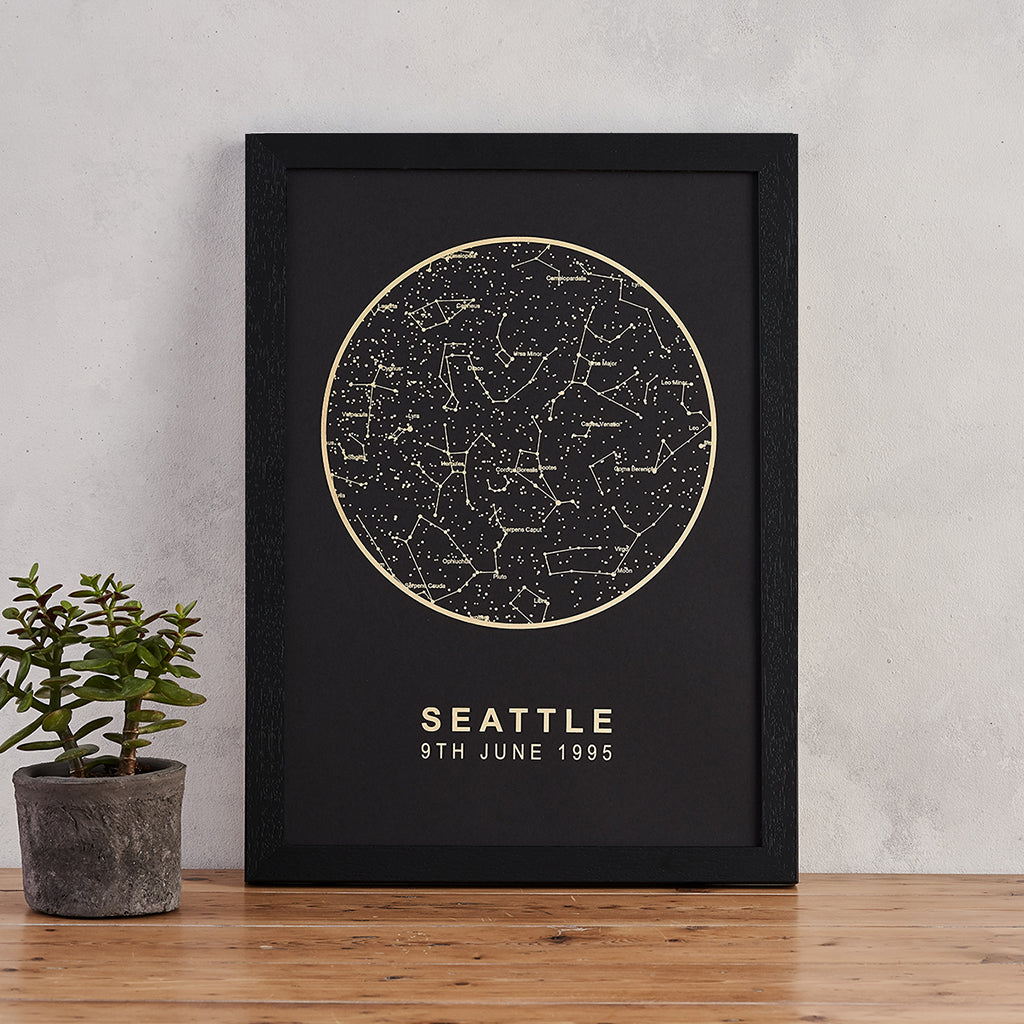 Personalised Map of the Stars Print - Black and Gold Foil — Bookishly