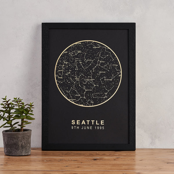black and gold foil star map print personalised night sky art bookishly