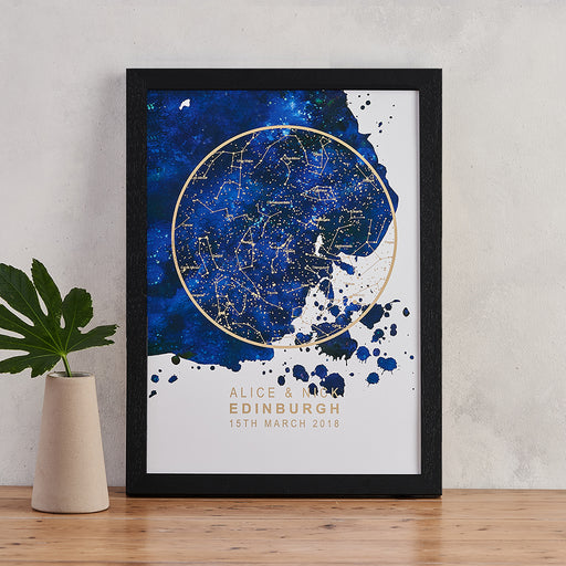 blue blot and gold foil star map print personalised night sky art bookishly