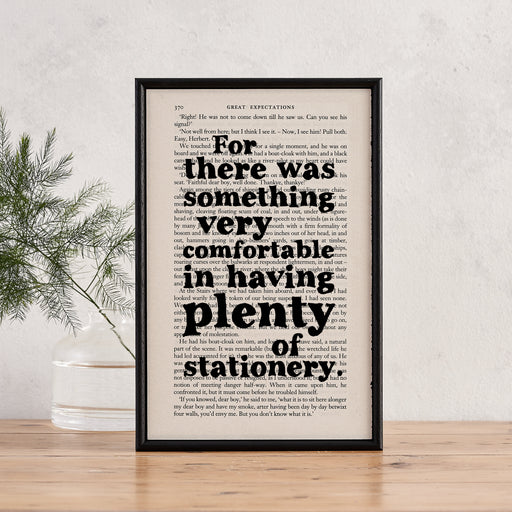 "Charles Dickens ""Something Very Comfortable In Having Plenty Of Stationery"" Great Expectations Framed Book Page Quote"