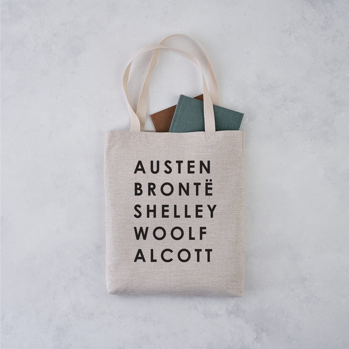 classic female authors tote bag