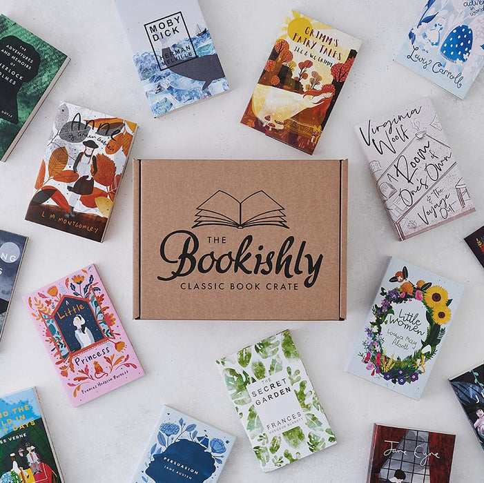 The Bookishly Classic Book Crate surrounded by Bookishly Editions that have previously featured in this bi-monthly book box.
