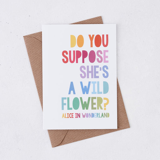 do you suppose shes a wildflower new baby card rainbow design