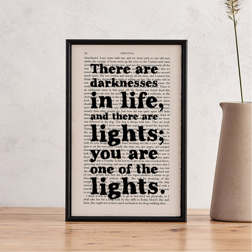 "Dracula Quote ""There Are Darknesses... And There Are Lights"" - Framed Romantic Book Page Print"