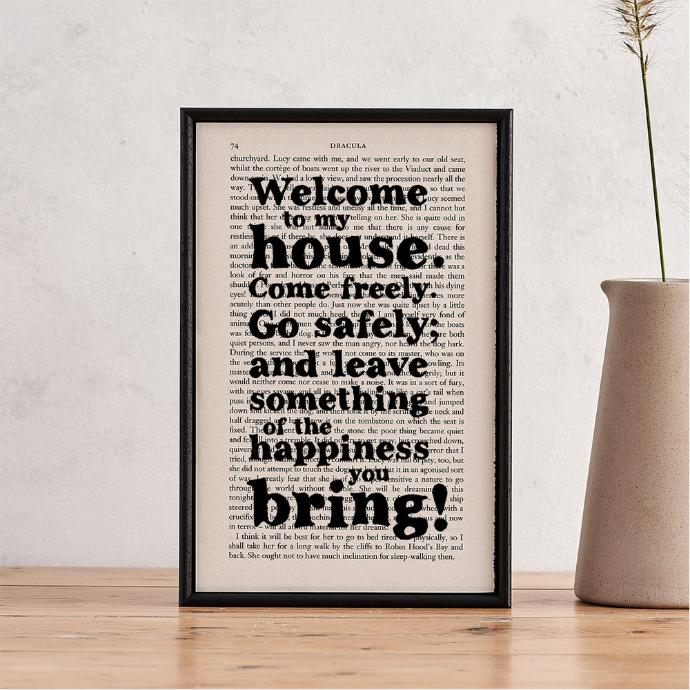 welcome to our home print with quotes from bram stoker's dracula 'welcome to my house. come freely. go safely' book page art