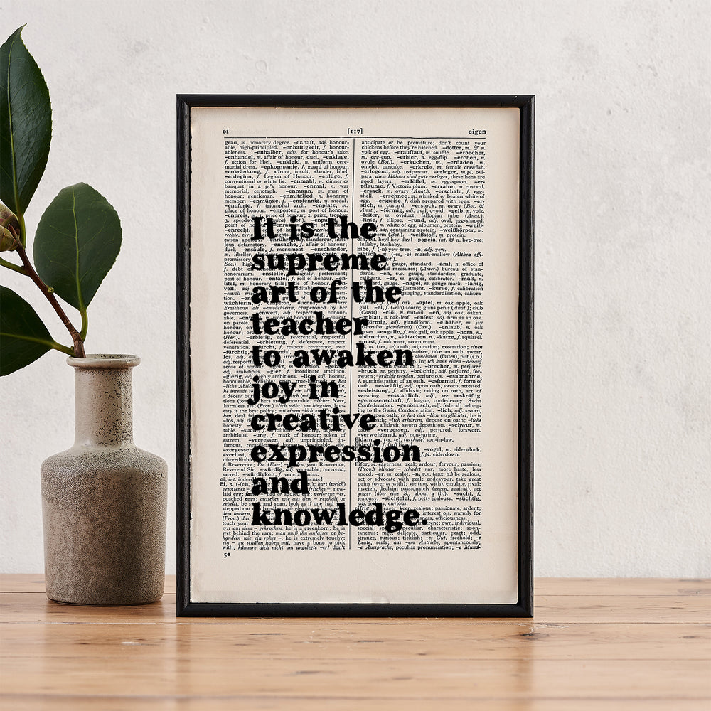 "Einstein ""It Is The Supreme Art Of The Teacher"" Quote - Framed Book Page Print"