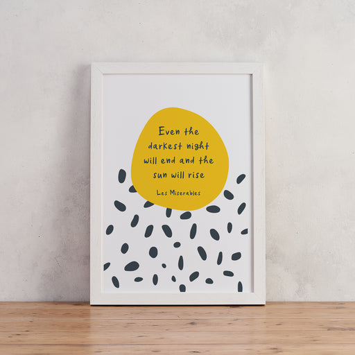 "Inspiring ""Even The Darkest Night Will End"" Mid-Century Style Art Print"