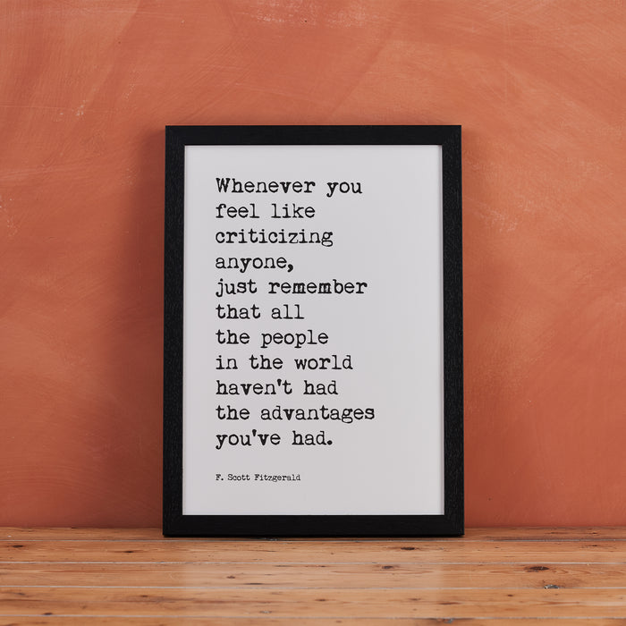 "F Scott Fitzgerald Quotes ""Whenever You Feel"" Typewriter Art"