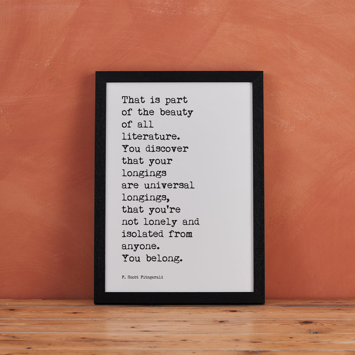 "F Scott Fitzgerald Quotes ""Beauty of all Literature"" Typewriter Art"