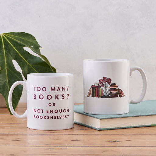 funny relatable book lover mug too many books not enough bookshelves