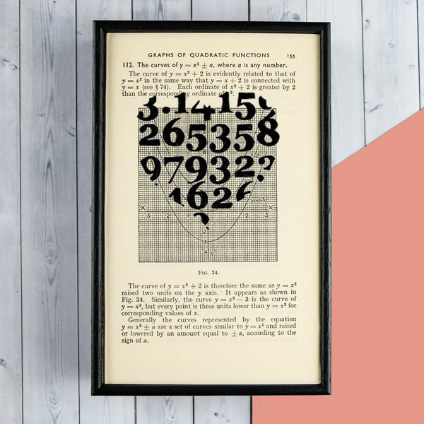 "Romantic Geek Gift ""Pi Numbers"" Heart Quote - Framed Book Page Art"