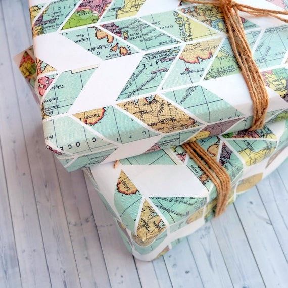 Wrapping Paper Sheet  - Vintage Map Chevron Design