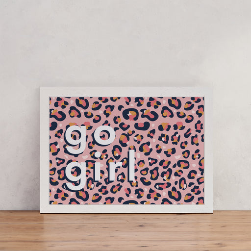 "Pink Leopard Print ""Go Girl"" Wall Art"