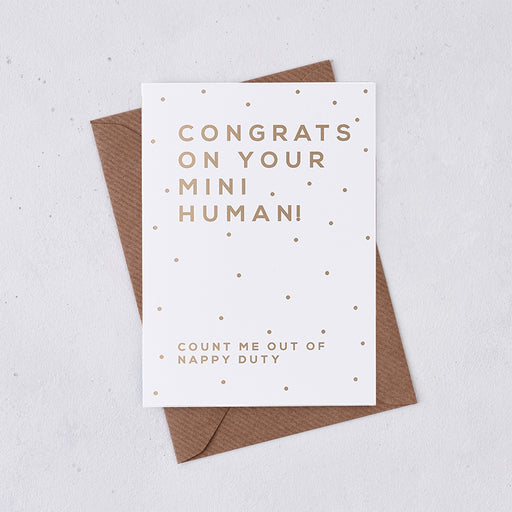Gold Foil 'Mini Human' New Baby Congratulations Card