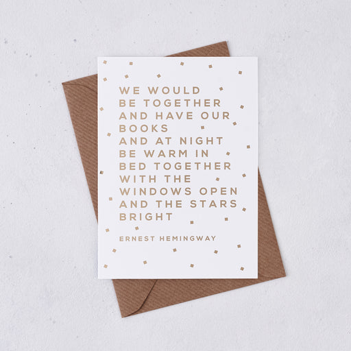 romantic card with Ernest Hemingway quote in gold foil