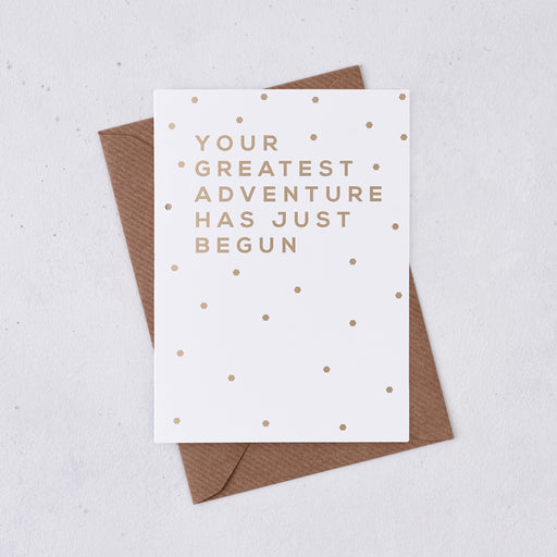 Gold Foil 'Greatest Adventure' Good Luck Card