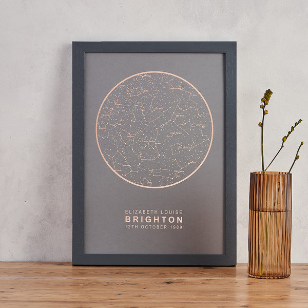 grey and copper foil star map print personalised night sky art bookishly