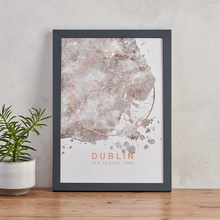 map of the stars print grey and rose gold personalised star map unique wedding gift ideas