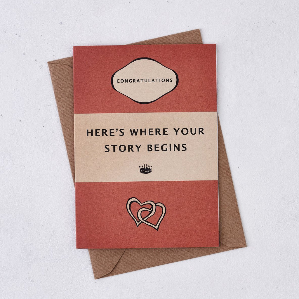 heres where your story begins book cover style wedding card