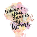 """Wherever You Are Is My Home"" Charlotte Brontë Quote - Watercolour Print"