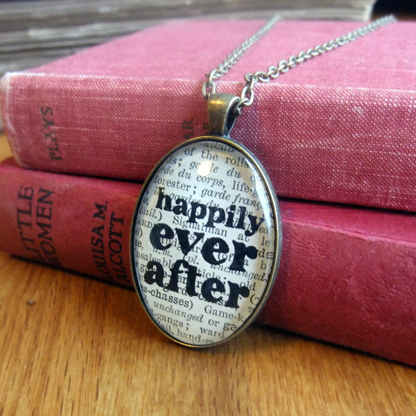 Romantic book art necklace