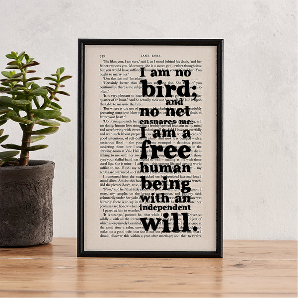 "Jane Eyre ""I Am No Bird And No Net Ensnares Me"" Framed Typographical Book Art Print"