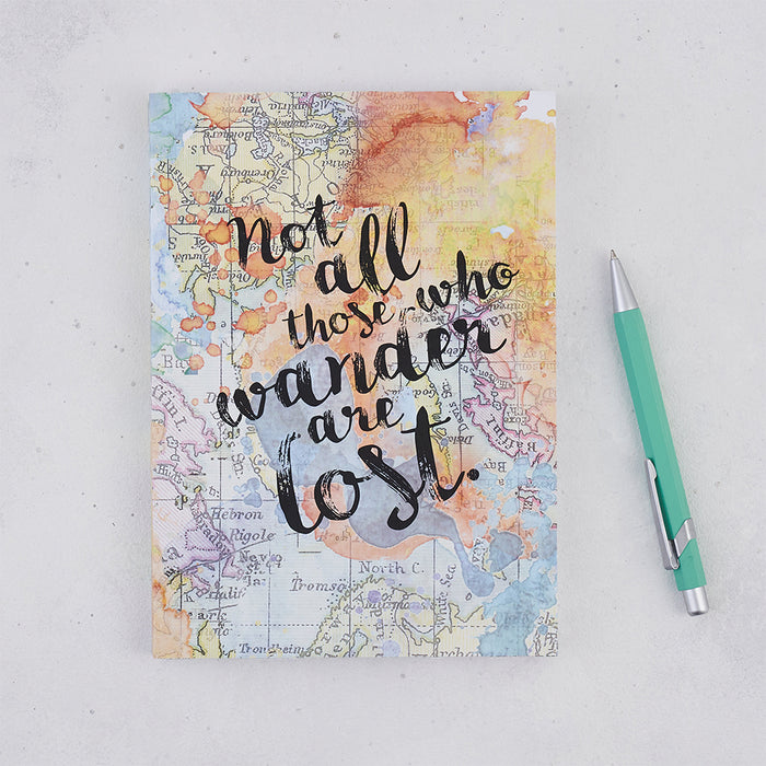 "Travel Journal ""Not All Those Who Wander Are Lost"" J.R.R Tolkien Quote"
