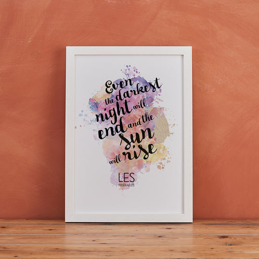 Les Miserables 'The Sun Will Rise' Inspirational Watercolour Quote Print