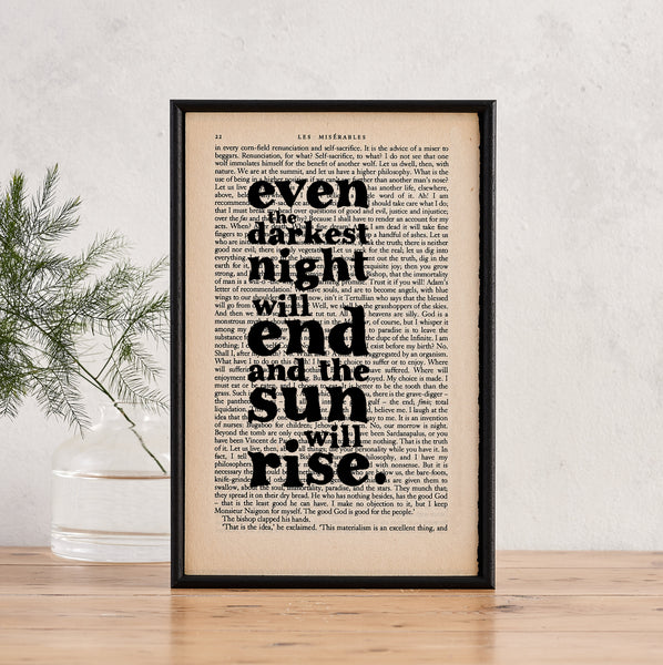 "Les Misérables ""Even The Darkest Night..."" Inspirational Quote - Framed Book Page Print"