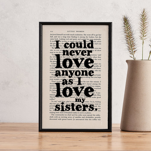 "Unique Sister Gift ""I Love My Sisters"" Little Women Quote Book Page Art"