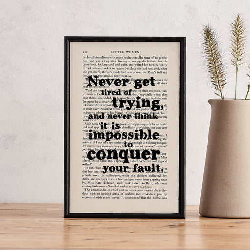 "Little Women Quotes ""Never Get Tired Of Trying"" Framed Book Page Art"