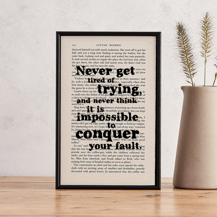 """Little Women Quotes """"Never Get Tired Of Trying"""" Framed Book Page Art"""